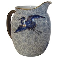Royal Worcester Pitcher With Egret and Butterfly Dated 1882