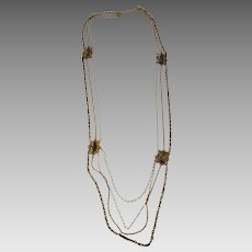 Antique Circa 1912 Costume Necklace in Goldtone and Black