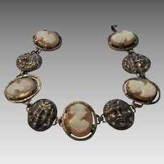 Vintage Bracelet With Five Cameo Ladies and Four Figural Medallions