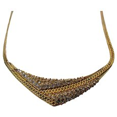 Vintage Krementz Mid Century Goldtone Necklace With Clear Crystal Centerpiece
