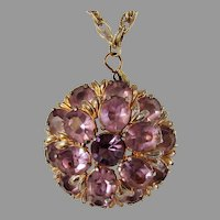 Vintage Unbacked Faux Amethyst Pendant on Goldtone Necklace