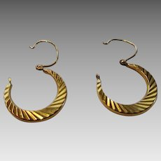 9 Karat Yellow Gold Hoops Etched Earrings