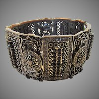 Vintage Cookie Lee Cuff With Faceted Black Crystals