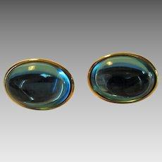 Vintage Trifari Aqua Lucite Goldtone Clip On Earrings