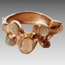 Chanel Signed Rose Goldtone Bangle With Art Glass Enhancements