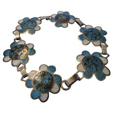 Sterling Silver Taxco Mexico Bracelet with Blue Enamelling