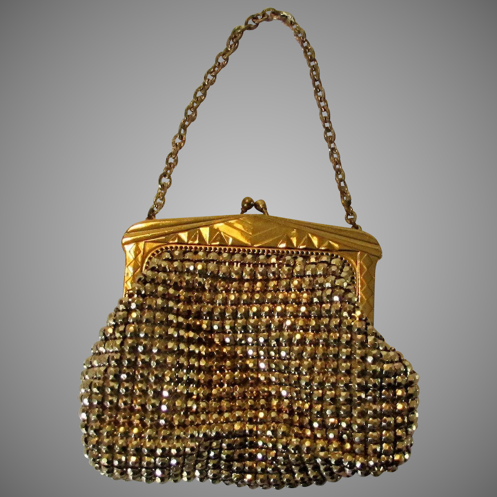 Vintage Unsigned Whiting And Davis Mesh Goldtone Purse
