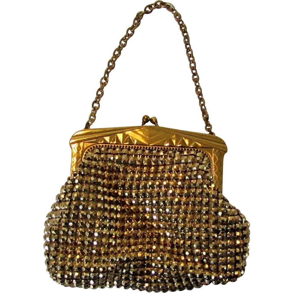 Vine Unsigned Whiting And Davis Mesh Goldtone Purse Style