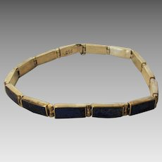 950 Silver Vintage Lapis Lazuli link Bracelet