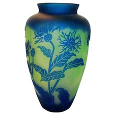 Cameo Carved Glass Vase in Blue to Green