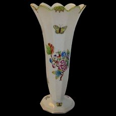 Herend Older Mark Vase with Flowers and Butterflies