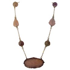 14 Karat Yellow Gold Carved Rose Quartz and Amethyst Necklace