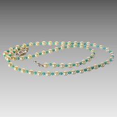 Cultured Pearls and Turquoise Necklace with Sterling Silver Focal Clasp