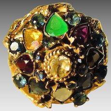 14 Karat Yellow Gold Multi Gemstone Ring in Princess Style Featuring Emerald, Citrine, Garnet, Sapphire and Moonstone