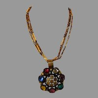 Vintage Multi Crystal Necklace With Triple Goldtone Chains