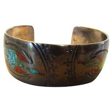 Sterling Silver Navajo Signed Inlaid Coral and Turquoise Cuff in Double Phoenix Pattern