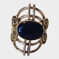 Sterling Silver Lapis Lazuli Open Backed Ring