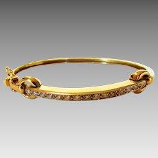 14 Karat Yellow Gold Diamond Bangle