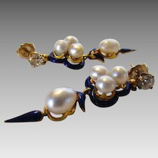 14 Karat Yellow Gold Cultured Pearl and Diamond Enamel Earrings.
