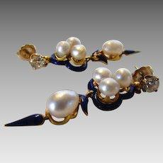 14 Karat Yellow Gold Cultured Pearl and Diamond Enamel Earrings.