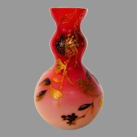 Cranberry Cased Glass Vase in Flowers and Insects