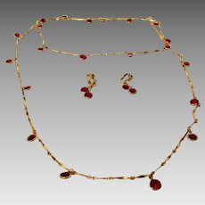 Vintage Goldtone Necklace and Matching Clip Earrings Enhanced by Ruby Swarovski Crystals