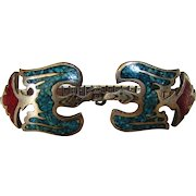 Sterling Silver Vintage Inlaid Turquoise and Coral Ladies Watch Band