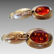 Sterling Silver and Amber Clip Earrings