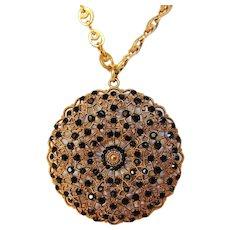 Vintage Designer Pendant featuring Black Crystals on Adjustable Necklace