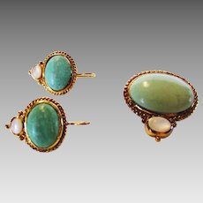 Sterling Silver Faux Jade and Moonstone Matching Pendant and Earring Set in Goldtone Vermeil