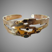 Sterling Silver Textured Gem Scattered Bangle