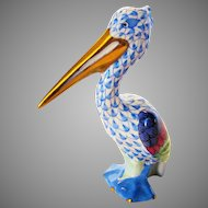 Herend Older Mark Pelican Hand Painted In a Myriad of Colors