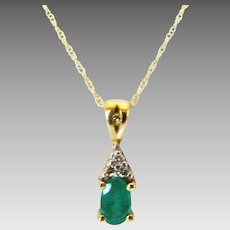 10 Karat Yellow Gold Petite Emerald and Diamond Pendant on 10 Karat Yellow Gold Chain