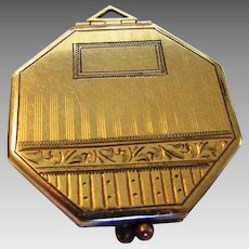 Deco Gold Filled 8 Sided Locket With Room for Two Photos
