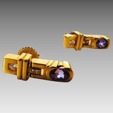 14 Karat Yellow Gold Tanzanite and Diamond Hinge Drop Earrings
