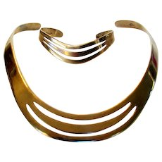 900 Silver Modernist Rigid Necklace and Matching Bracelet