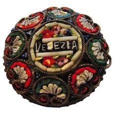 Vintage Micro Mosaic Floral Pin  in Floral Design Venice Souvenir Pin