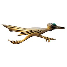 Sterling Silver Roadrunner Pin with Turquoise Eye