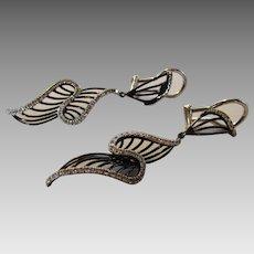 14 Karat White Gold Modernist Diamond Earrings
