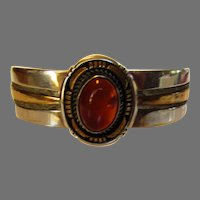 Sterling Silver Amber Ring Cuff With Center Amber and 12 Karat Gold Filled Accents by Wes Craig