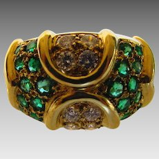 18 Karat Yellow Gold Emerald and Diamond Band