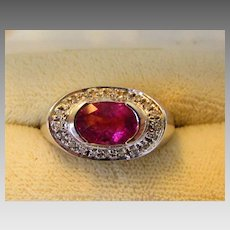14 Karat White Gold Diamond and Pink Tourmaline Ring