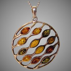 Sterling Silver Modernist Amber Pendant on a Sterling Chain