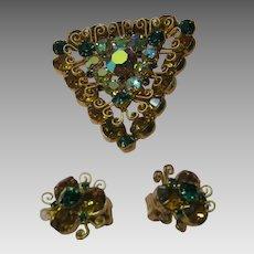 Hattie Carnegie Emerald and Citrine  Rhinestone  Pin and Earring Set