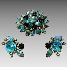 Vintage Mid Century Pin and Matching Clip Earring Set in Clear and Aurora Borealis Crystals