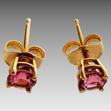 Petite 14 Karat Yellow Gold Pink Topaz Studs Earrings
