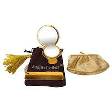 Judith Lieber Purse Accessories Set With Comb, Mirrors and Purse in Goldtone