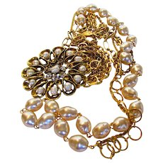 Vintage Designer Signed Multi Strand Necklace with Large Medallion featuring Faux Pearls and Clear Crystals