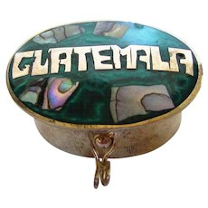 Guatemala Alpaca Mexico Pill Box with Mother of Pearl on Enamelling