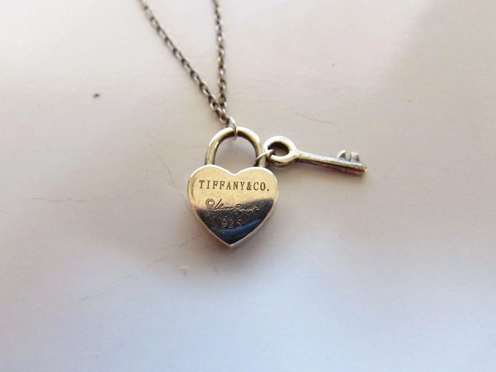 b9457027c Tiffany Sterling Silver Elsa Peretti Heart Lock and Key Necklace ...
